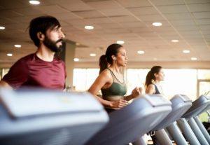 group of triathlete running on a treadmill