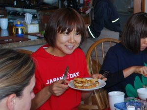 Yoko Shibui having her diet meal for running